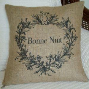 Vintage French Grain Sack Burlap Pillow Cover